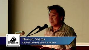 Phunuru Sherpa addressing Sustainable Summits 2014.
