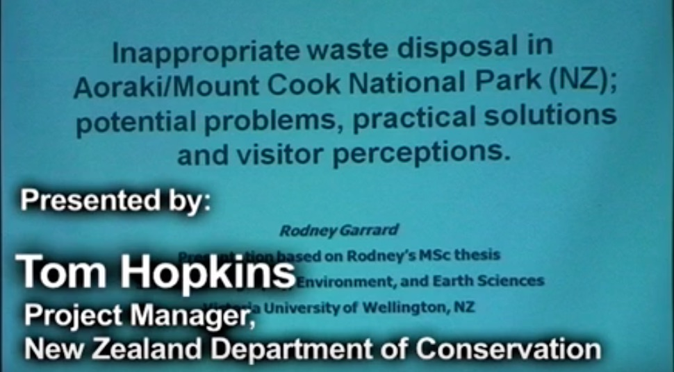 Rodney Garrard on Inappropriate waste disposal on Mt Cook Slide 2010.
